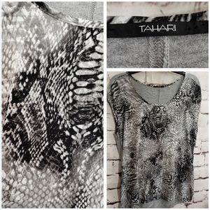 Tahari Snakeskin Print Sleeveless Top